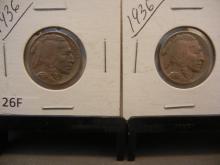 Two 1936 Buffalo Nickels