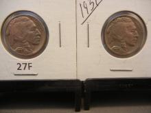 Two 1937 Buffalo Nickels
