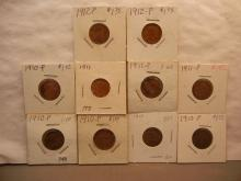 10 Lincoln Wheat: five-1910, three-1911, two-1912