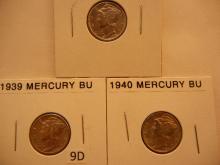 3 Mercury Dimes: 1939, 1940, 1943