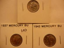 3 Mercury Dimes: 1937, 1942, 1945