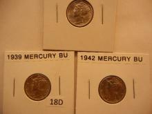 3 Mercury Dimes: 1939, 1942, 1943