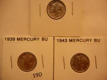 3 Mercury Dimes: 1939, 1943, 1945