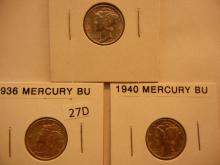 3 Mercury Dimes:1936, 1940, 1944