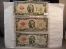 (3) 1928 Two Dollar Red Seal Notes.  (1) 28-D, (1) 28F, and (1) 28-G.