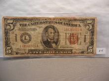 1934 A $5 Hawaii Emergency Currency. Fine Condition