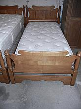 Maple Twin Bed , W/Newer Thick Mattress, repair made to frame - Will not Ship!
