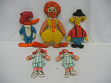 Ronald McDonald Doll, 2 Wendy's Doll, Woody Wood Pecker,  Other Vintage Cloth Dolls