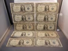 (10) 1935 Silver Certificates.  Two are STAR Notes.  Circulated.