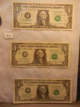 3-One Dollar Federal Reserve Star Notes, 2001 & 2003