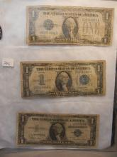 1928,1934,1935 One Dollar Blue Seal Silver Certificates