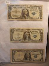 3-1957 Blue Seal One Dollar Certificates