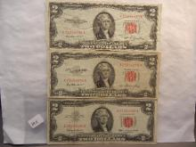 3-Red Seal Two  Dollar Federal Reserve Notes,1953,1963