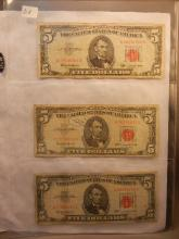 3-1963 Red Seal Five Dollar US Notes
