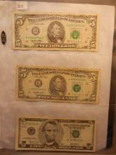 3-Five Dollar Federal Reserve Notes , 2-1995,1-2003 Star Note