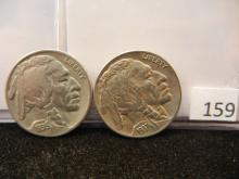 2 Buffalo Nickels 1936, 1937-D