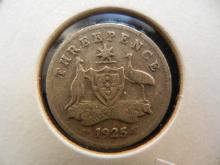 1925 Australian Threepence 92.5% Silver