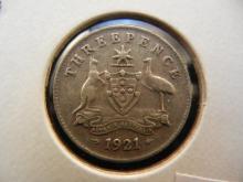 1921 Australian Threepence 92.5% Silver