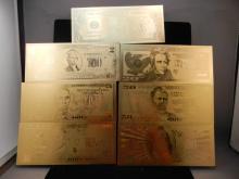 $1, $2, $5, $10, $20, $50, $100 24 KT Gold Banknote Set