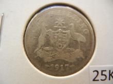 1917 Australian Shilling 92.5 % Silver