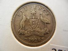 1924 Australian Sixpence 92.5% Silver