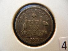 1919 Australian Three Pence 92.5 % Silver