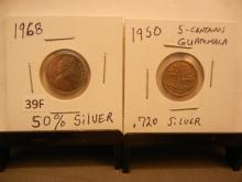 1950 Guatemala Five Centavos & 1968 Canadian Dime