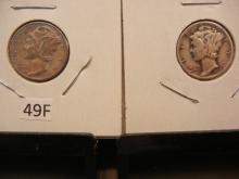 2-Mercury Dimes , 1939 P & D