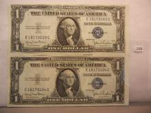 2-1935 One Dollar Silver Certificates W/Consecutive Numbers