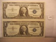 2-1957 One Dollar Silver Certificates  Star Notes W/Consecutive Numbers
