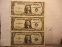 3-1935 One Dollar Silver Certificates W/Consecutive Numbers