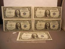 5-1935 Crisp One Dollar Silver Certificates W/Consecutive Numbers