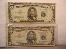 2-1953 Five Dollar Silver Certificates Blue Seal