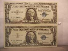 2-1957 Crisp One Dollar Silver Certificates  W/Consecutive Numbers