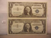 2-1957 One Dollar Silver Certificates W/Consecutive Numbers