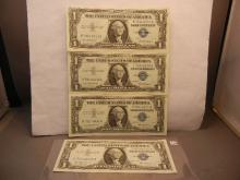 4-1957 One Dollar Silver Certificates W/3-Consecutive Numbers, Missing # 634
