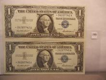2-1957 Crisp One Dollar Silver Certificates Star Notes  W/Consecutive Numbers
