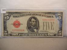1928 -C Five Dollar US Red Seal Note