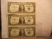 3-1957 Crisp One Dollar Silver Certificates W/Consecutive Numbers