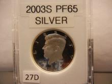 2003-S Proof 65 Silver Kennedy Half Dollar
