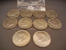 Ten 40% Silver Kennedy Half Dollars