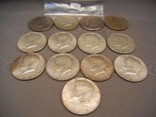 Ten 40% Silver Kennedy Half Dollars & Three Clad