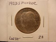 1923-S US Monroe Half Dollar Has Luster & AU Detail
