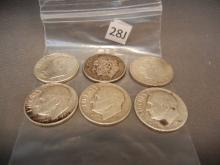 Six Silver Roosevelt Dimes Mixed Dates