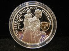 1997 Solomon Islands $10 50th Wedding Anniversary.  Struck in .925 silver with gilt.  Higher Value.