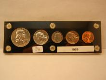 1959 US Proof Set.  Five coins in Capital holder.