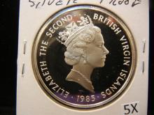 1985 Silver Proof British Virgin Islands Twenty Dollars
