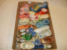 Lot of Miniature Boots, Shoes, Toothpick Holders;