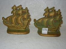 Pair of Cast Iron Bookends; Galleon Sailing Ship;