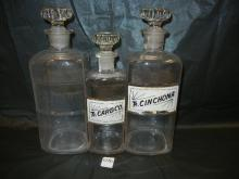 3-Apothacary Bottles Matching Stoppers, 9